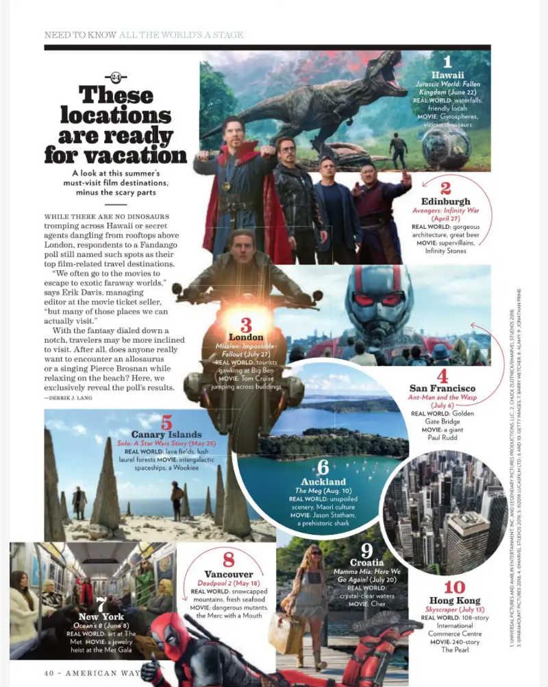 201807 La revista de American Airlines sita Canarias como uno de los 10 mejores