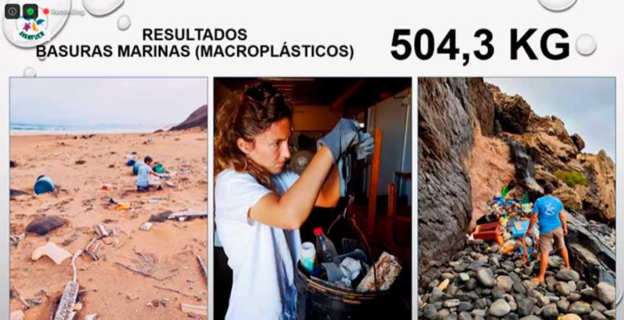 residuos plásticos recogidos en Cofete
